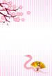 巳 桜 扇子 年賀状 背景