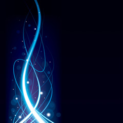 Abstract blue glowing wave background.
