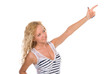 Attractive teenage girl pointing with finger