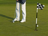 Golf training with ball and flag