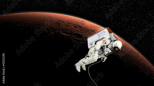 Astronaut in mars orbit