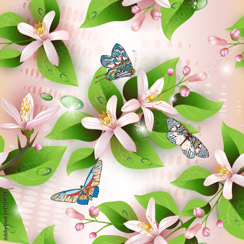 Elegance seamless flowers pattern on pink background