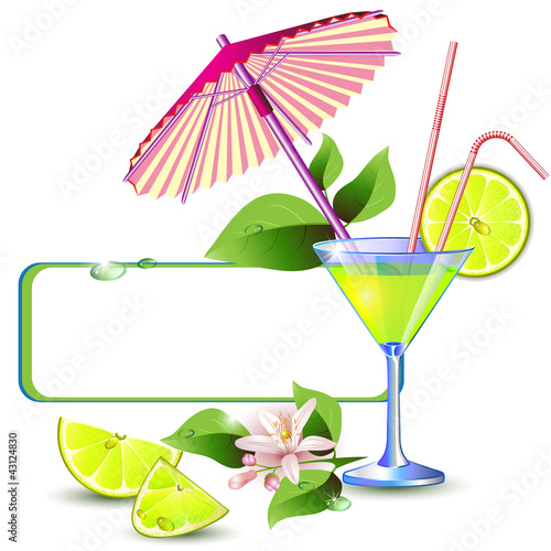 Exotic banner with juicy slices of lemon fruit and umbrella