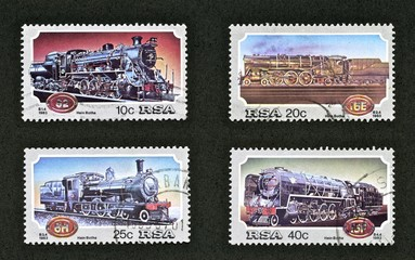 Stamps, trains