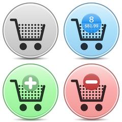 Shopping Cart Icons Matte Button Set. EPS10.