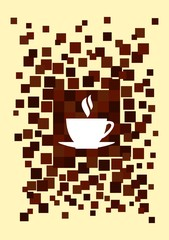 Cup of hot drink among pixels.