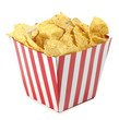 Nachos in red white striped box snack food