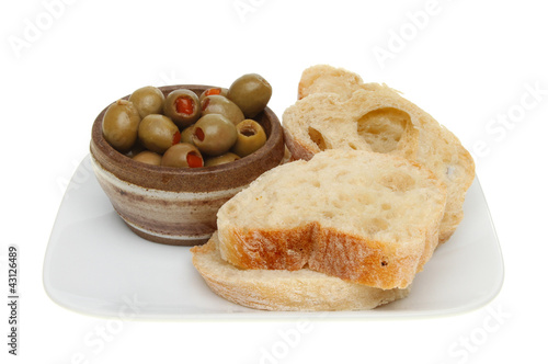 Olives and ciabata