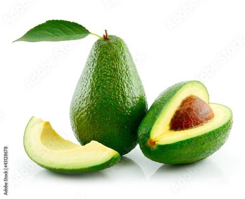Ripe Avocado With Green Leaf Isolated on White