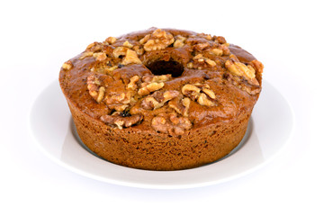 Honey cake with nuts.