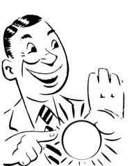 uomo che mostra badge