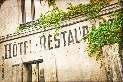Enseigne hôtel restaurant vintage - 43133861