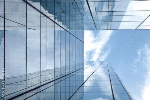 Deurstickers Aan het plafond Hochhaus - Glasfassade
