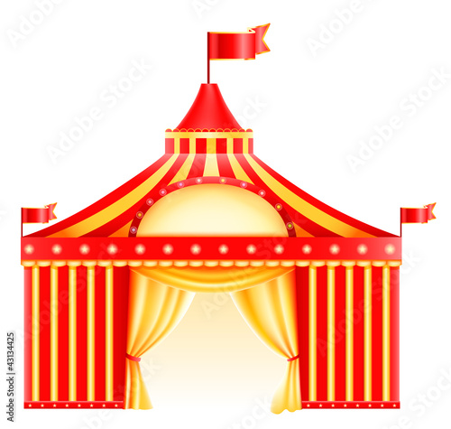Big top circus tent isolated in white. Icon.