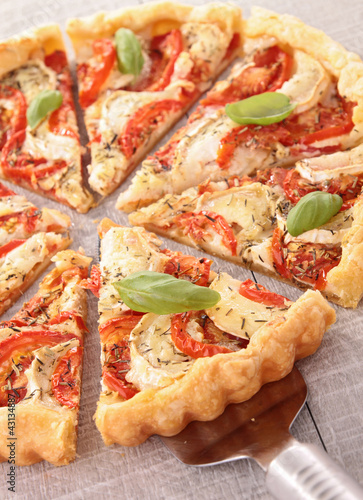 tomato,cheese and basil tart