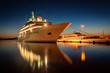 Leinwandbild Motiv Modern cruise liner in the harbor at night
