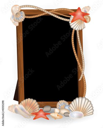 Photo frame with seashells, vector illustration