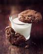 Glass of milk and chocolate cookies with nuts