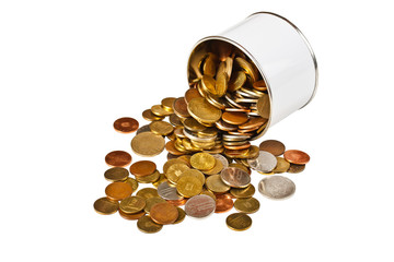 Coins in tin
