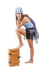 Woman in climbing equipment