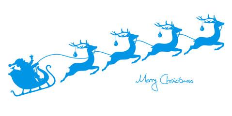 Christmas Sleigh Santa & 4 Flying Reindeers Iceblue