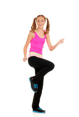 Happy teen workout zumba fitness