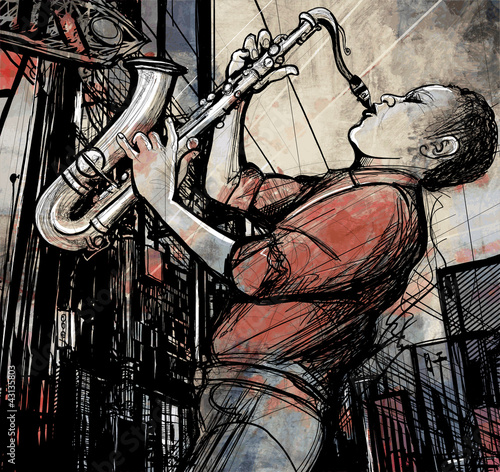 Poster saxophone player in a street at night