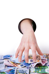Hand reaching for money