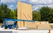 Holzbausystem - Baustelle im Industriegebiet