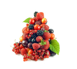 pile of fresh berries and fruits isolated