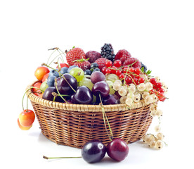 assortment of fresh berries and fruits in the basket