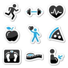 Zdrowie i fitness zestaw ikon