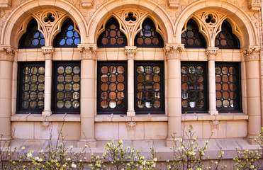 Yale University Ornate Windows Reflection