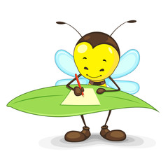 Editable vector bee writing on a leaf