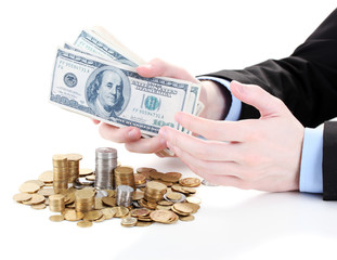 business man taking money isolated on white