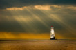 lighthouse as the storm breaks