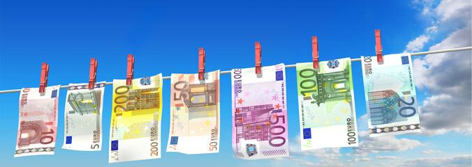 frisch gewaschene Euroscheine
