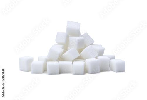 Leinwandbild Motiv pile of refined white sugar cubes