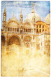 views of Venice in vintage style, like postcards
