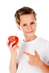 little boy with apple