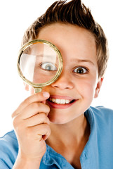 boy with magnifier
