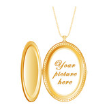 Vintage Oval Gold Locket with copy space, necklace chain