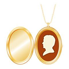 Vintage Man's Cameo, Antique Gold Locket, necklace, copy space