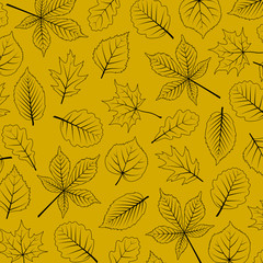 seasonal background with outlines of leaves