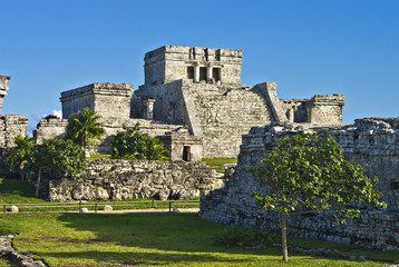 the historic ruins of ancient mayan city of tulum, mexico