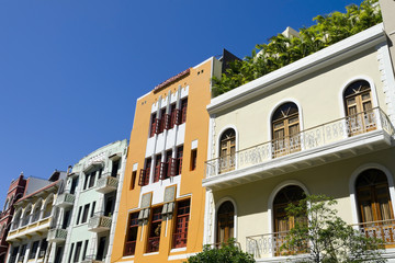 Row of houses in Old San Juan Puerto Rico