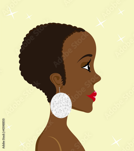 Portrait of a beautiful woman with shiny earring