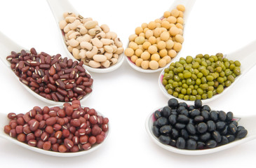side view different beans with clipping path
