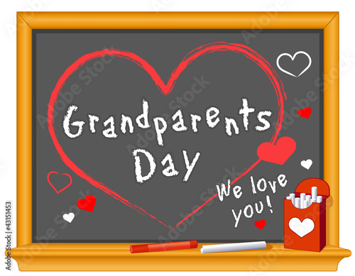 Grandparents Day, Sept. holiday, love, hearts, chalk, blackboard