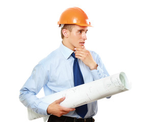View of young construction worker wearing helmet